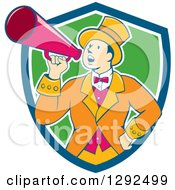 Clipart Of A Retro Cartoon White Male Circus Ringmaster Announcing Through A Bullhorn In A Blue White And Green Shield Royalty Free Vector Illustration