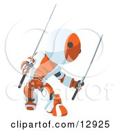 Defensive Orange Metal Robot Ninja Fighting With Swords Clipart Illustration