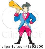 Cartoon White Male Circus Ringmaster Announcing Through A Bullhorn