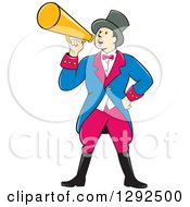 Clipart Of A Cartoon White Male Circus Ringmaster Announcing Through A Bullhorn Royalty Free Vector Illustration
