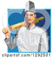 Clipart Of A Geometric White Male Chef Or Baker With A Rolling Pin Over His Shoulder In A Blue Square Royalty Free Vector Illustration