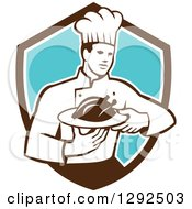 Retro Male Chef Carrying A Roasted Chicken On A Platter In A Brown White And Blue Shield