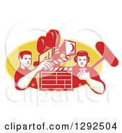 Clipart Of A Retro Male Cameraman Filming And Holding A Clapper With A Boom Man Over A Yellow Oval Royalty Free Vector Illustration by patrimonio