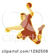 Clipart Of A Retro Jumping Male Handball Player Preparing To Throw The Ball Royalty Free Vector Illustration by patrimonio