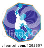 Clipart Of A Retro Male Handball Player Jumping And Preparing To Throw The Ball In A Hexagon Of Rays Royalty Free Vector Illustration by patrimonio