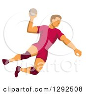 Clipart Of A Retro Male Handball Player Jumping And Preparing To Throw The Ball Royalty Free Vector Illustration by patrimonio