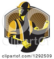 Clipart Of A Retro Male Construction Worker Foreman Holding Plans Over A Shield Of Brown Rays Royalty Free Vector Illustration