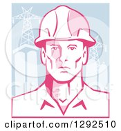 Clipart Of A Retro Male Engineer Wearing A Hardhat Over Power Pylons And Buildings Royalty Free Vector Illustration