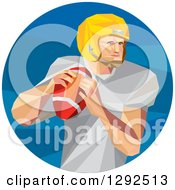 Clipart Of A Geometric White American Football Player Throwing In A Blue Circle Royalty Free Vector Illustration by patrimonio