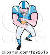 Clipart Of A Cartoon White Male American Football Player Running Back In A Blue And White Uniform Royalty Free Vector Illustration