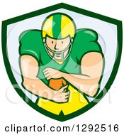 Clipart Of A Cartoon White Male American Football Player Running Back In A Green And Blue Shield Royalty Free Vector Illustration by patrimonio