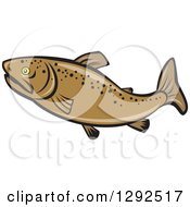 Clipart Of A Cartoon Brown Trout Fish In Profile Royalty Free Vector Illustration