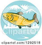 Clipart Of A Cartoon Brown Trout Fish Leaping Over A River In The Mountains Royalty Free Vector Illustration