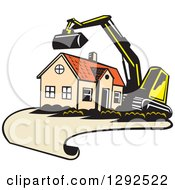 Clipart Of A Cartoon Excavator And House On A Blueprint Page Royalty Free Vector Illustration