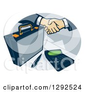 Clipart Of A Briefcase And Handshake With A Calculator In An Oval Royalty Free Vector Illustration