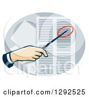 Clipart Of A White Hand Using A Pointer To Direct Attention To A Data Sheet Royalty Free Vector Illustration
