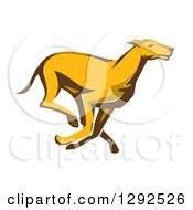 Clipart Of A Retro Cartoon Greyhound Dog Running Royalty Free Vector Illustration