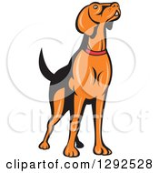 Clipart Of A Retro Cartoon Golden Retriever Dog Sniffing The Air Royalty Free Vector Illustration