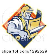 Clipart Of A Retro Centurian Roman Soldier Emerging From A Yellow And Orange Diamond Royalty Free Vector Illustration by patrimonio