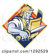 Retro Centurian Roman Soldier Emerging From A Yellow And Orange Diamond