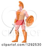 Clipart Of A Retro Centurian Roman Soldier Royalty Free Vector Illustration by patrimonio