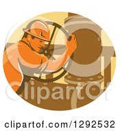 Clipart Of A Retro Male Gas Worker Closing A Valve In An Oval Royalty Free Vector Illustration