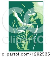 Clipart Of A Retro 1030s Styled Green Toned Farm Worker Picking Fruit From A Pear Tree Royalty Free Vector Illustration