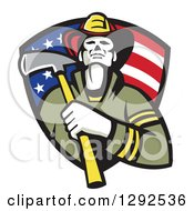 Retro Fireman Holding An Axe In An American Flag Shield