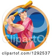 Clipart Of A Geometric White Male Baseball Player Batting Inside A Blue Orange Circle Royalty Free Vector Illustration
