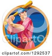 Geometric White Male Baseball Player Batting Inside A Blue Orange Circle