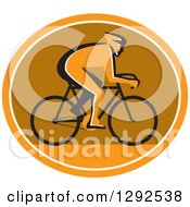Clipart Of A Silhouetted Cyclst In Profile Inside An Orange White And Brown Oval Royalty Free Vector Illustration by patrimonio