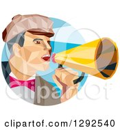 Clipart Of A Geometric White Male Director Using A Bullhorn In A Blue Circle Royalty Free Vector Illustration