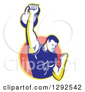 Clipart Of A Retro Male Bodybuilder Lifting A Kettlebell And Emerging From A Yellow And Red Ray Circle Royalty Free Vector Illustration