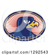 Clipart Of A Retro Falcon Head In A Blue Yellow And Red Oval Of Rays Royalty Free Vector Illustration