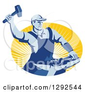Clipart Of A Retro Blue Male Farrier Hammering A Horseshoe In An Oval Of Yellow Sunshine Royalty Free Vector Illustration