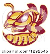 Clipart Of A Retro Angry Female Hornet Or Wasp Royalty Free Vector Illustration