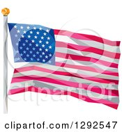 Clipart Of A Geometric American Flag On A Pole Royalty Free Vector Illustration