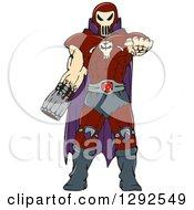 Cartoon Skull Faced Warrior Pointing Outwards