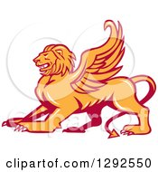 Clipart Of A Fierce Winged Lion Royalty Free Vector Illustration