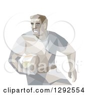 Clipart Of A Geometric Male Rugby Player Royalty Free Vector Illustration