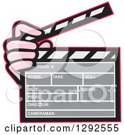 Clipart Of A Cartoon Hand Holding A Clapperboard Royalty Free Vector Illustration by patrimonio