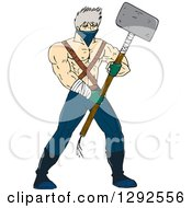 Clipart Of A Cartoon Shirtless Ninja Warrior Holding A Sledghammer Royalty Free Vector Illustration by patrimonio
