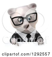 3d Happy Bespectacled Business Polar Bear Pointing Down Over A Sign