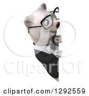 3d Happy Bespectacled Business Polar Bear Looking Around A Sign