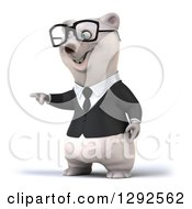 3d Happy Business Polar Bear Pointing To The Left