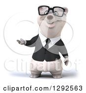3d Happy Business Polar Bear Presenting To The Left