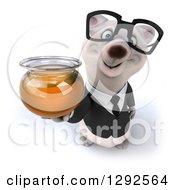 3d Happy Business Polar Bear Holding Up A Honey Jar