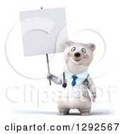 Clipart Of A 3d Happy Polar Bear Veterinarian Or Doctor Holding A Blank Sign Royalty Free Illustration