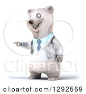 Clipart Of A 3d Happy Polar Bear Veterinarian Or Doctor Pointing To The Left Royalty Free Illustration