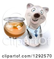 Clipart Of A 3d Happy Polar Bear Veterinarian Or Doctor Holding Up A Honey Jar Royalty Free Illustration
